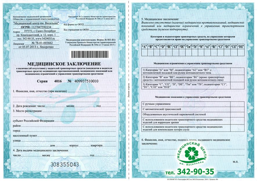 Медицинская справка для водительского удостоверения спб Карта профилактических прививок Текстильщики